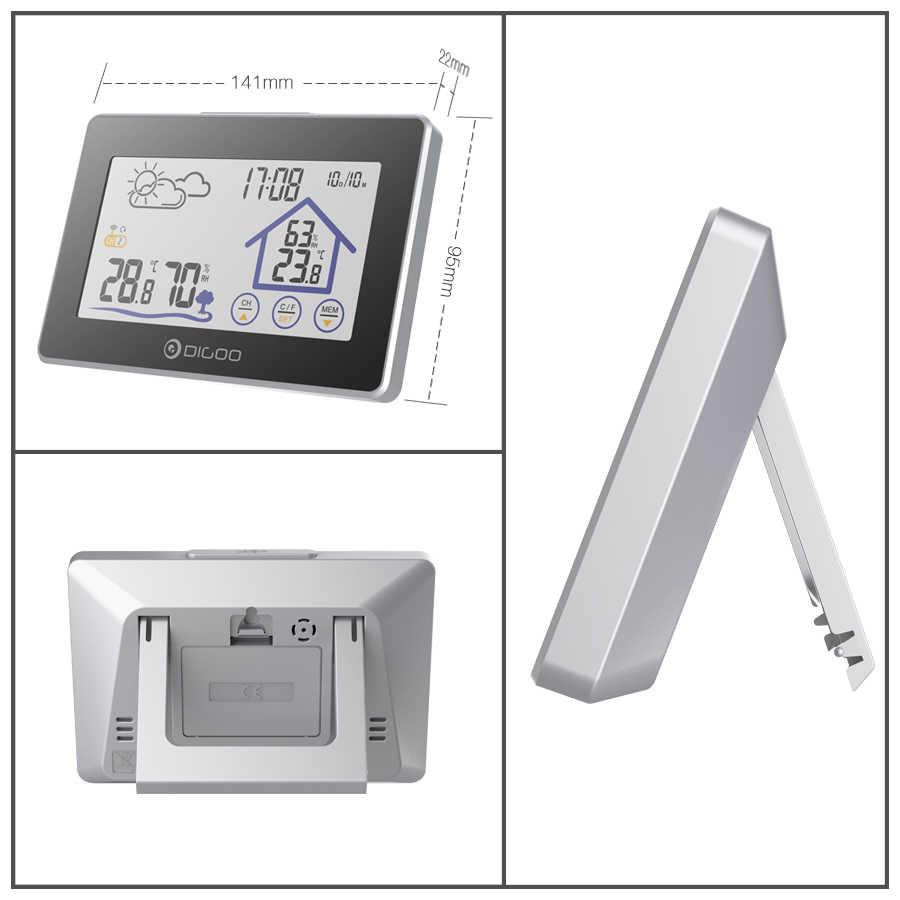 Digoo DG-TH8380 сенсорная Метеостанция + датчик наружной погоды 3CH термометр с подсветкой гигрометр Календарь Будильник