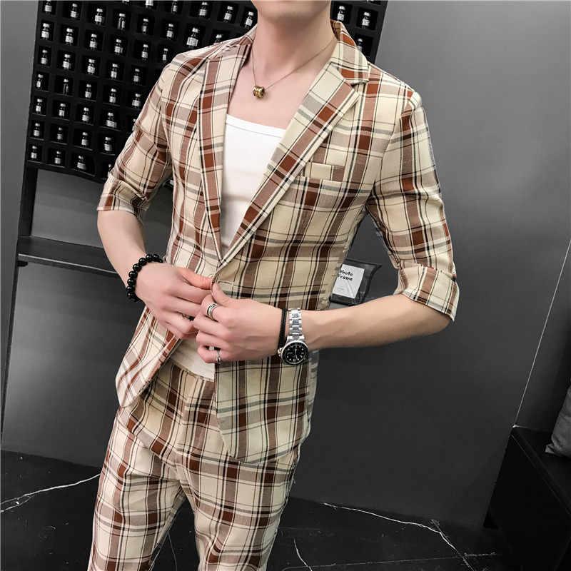 2019 格子縞の結婚式のスーツデザイナー半袖男性のスーツの夏ファッションウェディングタキシード衣装オムカジュアルスリムフィットスーツ 2 個セット