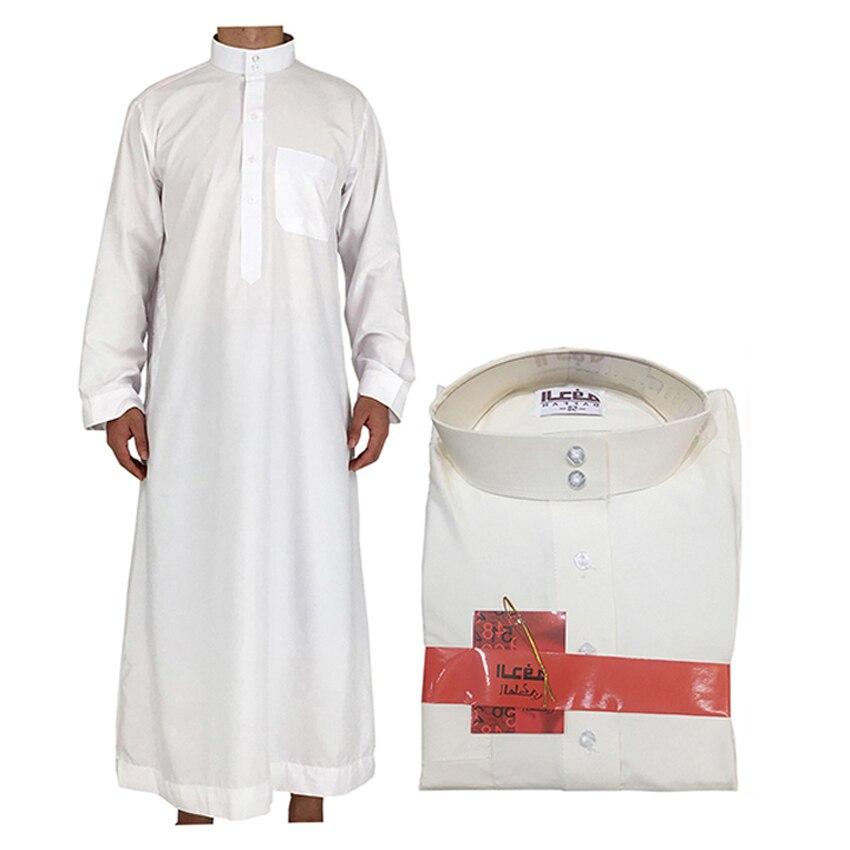 White Islamic Arab Designs Men Clothing Jubba Thobe Daffah Male Muslim Traditional Costumes Dubai Arabic Turkish Kaftan