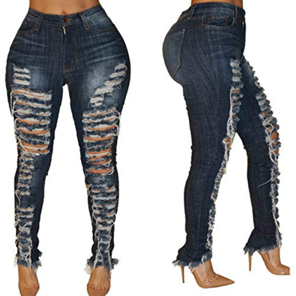 Women Fashion Low Waist Ripped Hole Skinny Jeans Ripped Jeans For Women Rock Jean Full Length Dark Blue Trousers S-XXL