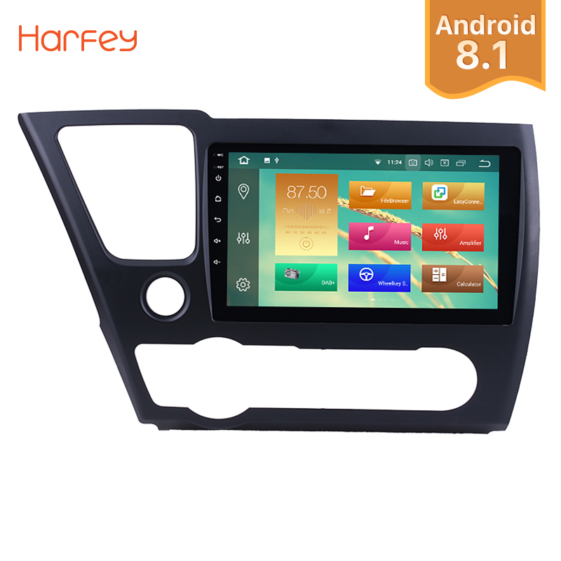 Harfey 9 Android 8.1/8.0 1Din GPS Car Radio For 2014 2015 2016 2017 Honda Civic HD 1080P Multimedia Player Head Unit With Wifi