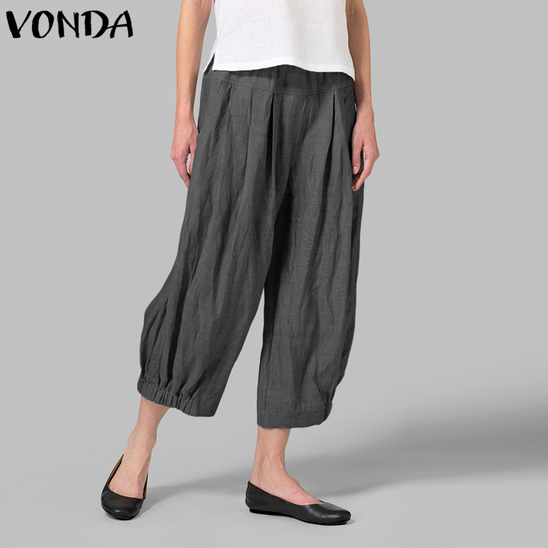 VONDA Women Casual   Wide     Leg     Pants   2019 Autumn Spring Vintage High Waist Solid Harem   Pants   Plus Size Loose Trousers Bottoms 5XL