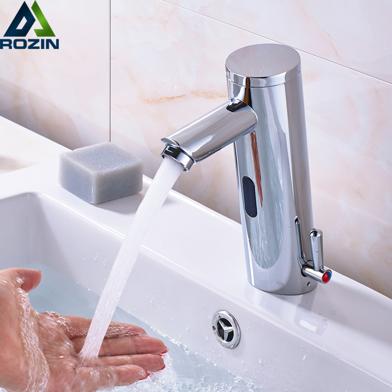 Sensor Faucet Automatic Inflrared Sensor Hand Touch Tap Hot Cold Mixer Chrome Polished Sink Mixer Bathroom