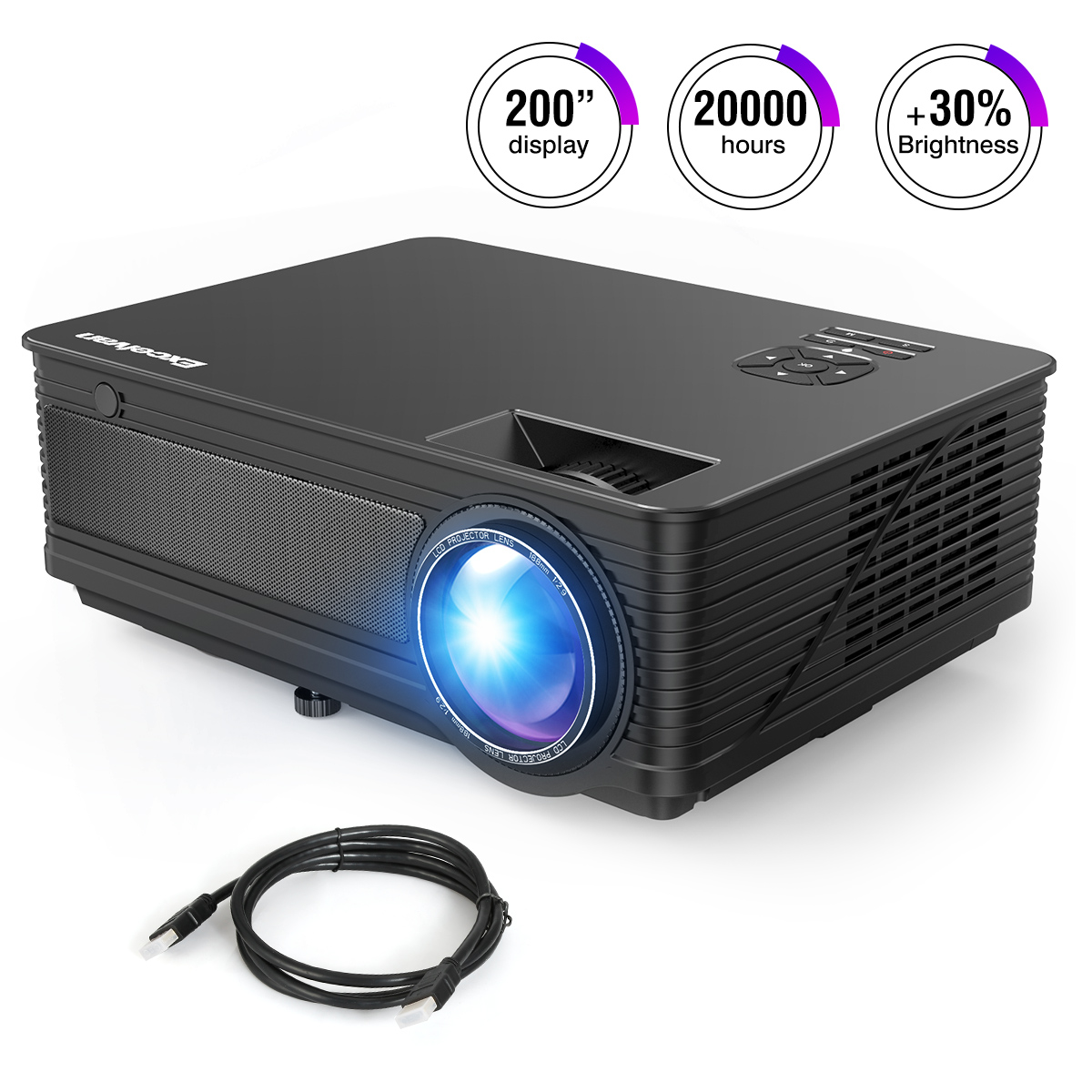 Excelvan M5 3500 Lumen LED Full HD Projector Home Cinema TV 3D
