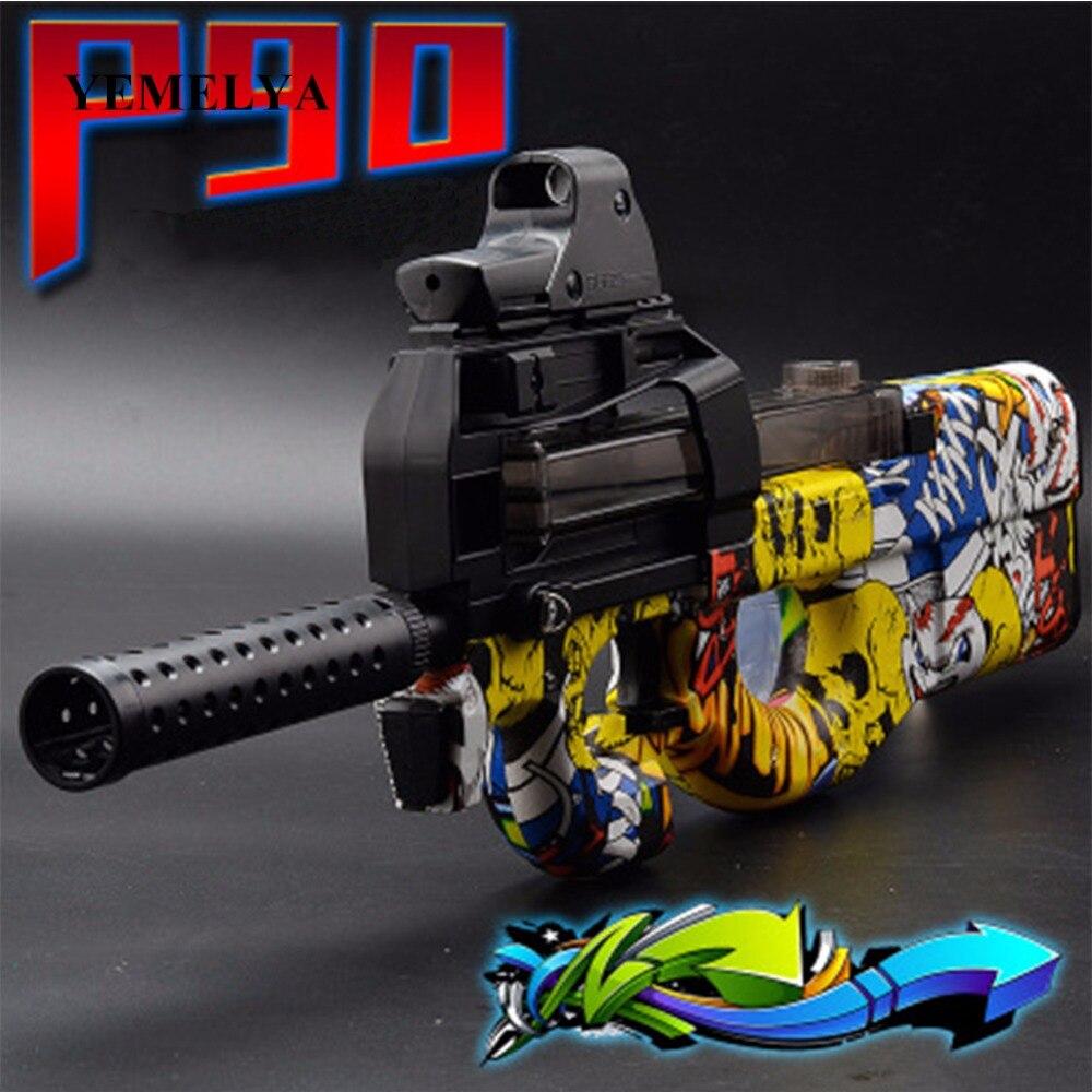 P90 graffiti edição brinquedo elétrico pistola de ar macio bala explosão arma ao vivo cs assalto snipe arma ao ar livre brinquedos