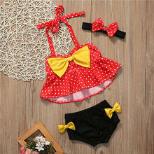 Красный топ в горошек с желтым бантом для маленьких девочек+ трусики, купальный костюм, танкини, купальный костюм, пляжный костюм