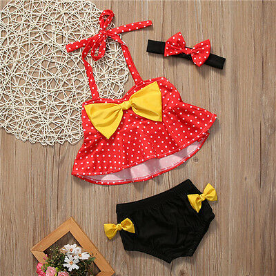 Toddler Kids Baby Girls Dot Yellow Bowknot Red Top+Briefs Swimsuit Tankini Swimwear Bathing Suit Beach