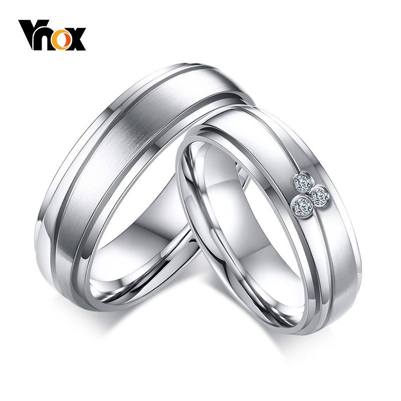 Vnox Couple Rings Stones Wedding-Bands Alliance Stainless-Steel Elegant Women Trendy