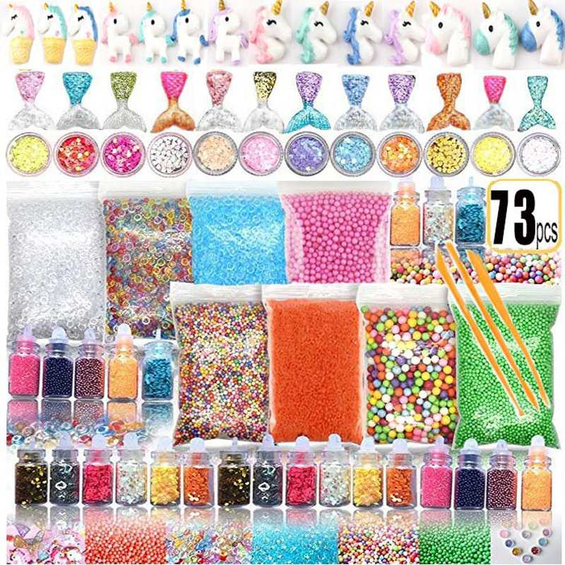 72/73 pacote que faz kits suprimentos para o lodo material charme fishbowl grânulos glitter pérolas diy artesanal cor espuma bola material conjunto