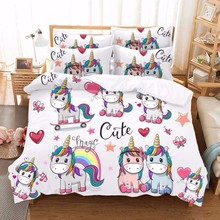 Kawaii Unicorn Bedding Set Single Bed Sheet Linen Dovet Cover Cartoon Kids Luxury Home Textile