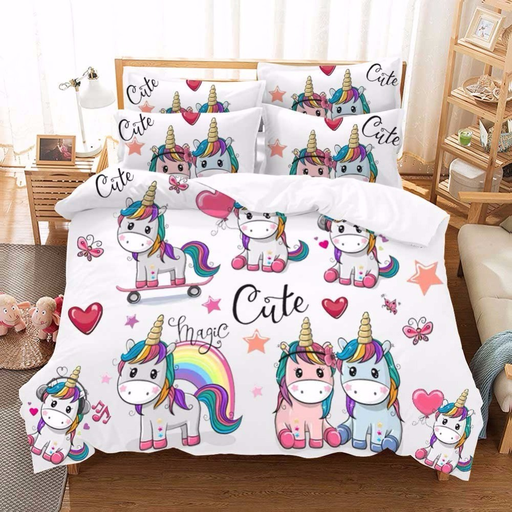 Kawaii Unicorn Bedding Set Single Bed Sheet Set Bed Linen Dovet Cover Set Cartoon Kids Luxury Bedding Home Textile