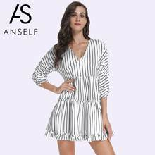 28585fe30cd42 Kadın Çizgili Elbise Kontrast Stripes Baskı V Yaka Üç Çeyrek Batwing Kollu  yaz elbisesi 2019 Fırfır Mini Seksi Tek Parça
