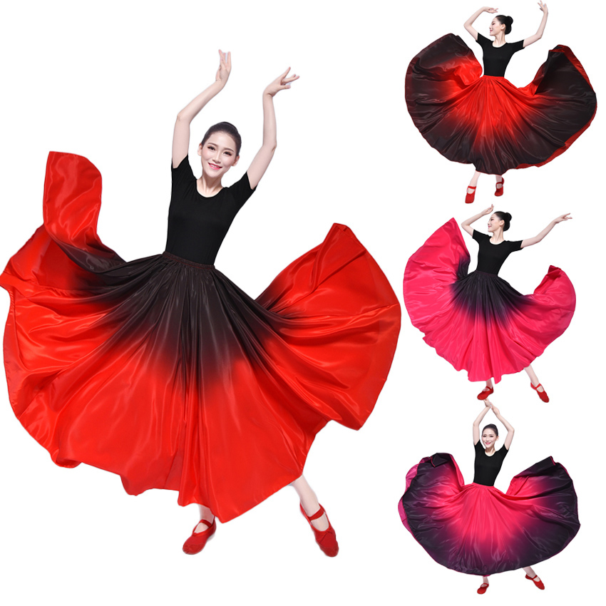 Spain Bullfight Festival Carnival Party Flamenco Dance Skirt Gypsy Fading Color Elastic Dress for Woman Stage Wear Performance
