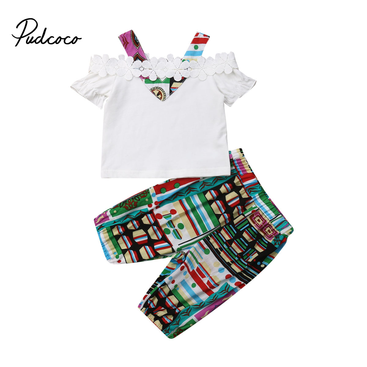 Toddler Kids Baby Girls Cotton Tops Blouse Flower Print Pants Outfits Clothes US