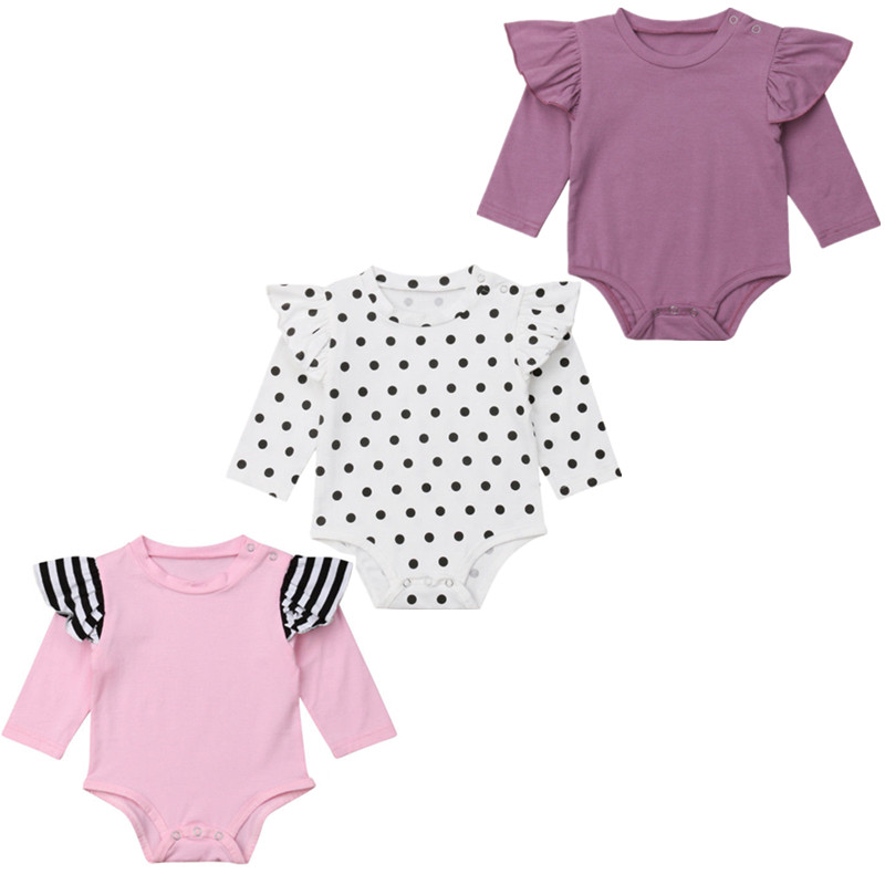 Newborn Baby Girls Long Sleeve   Romper   Long Sleeve Ruffles Jumpsuit Outfits Clothes 0-24M