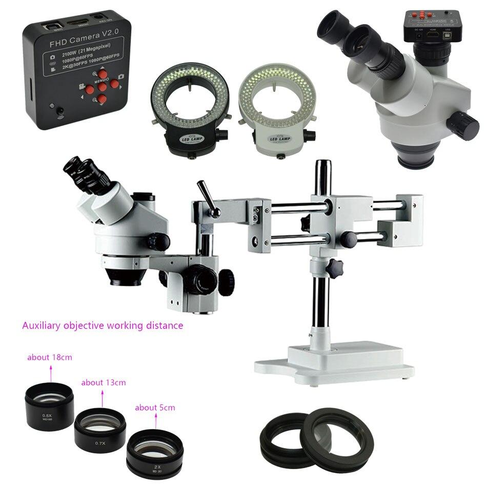 Simul-focal Double Boom Stand stéréo trinoculaire synchrone Microscope de mise au point 3.5X-90X + 38MP 1080 P 60FPS HDMI caméra PCB réparation