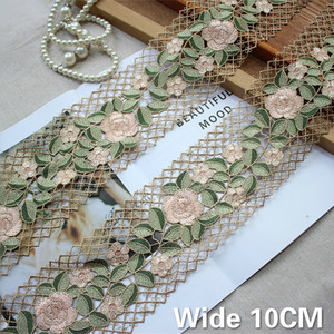 10CM Wide Delicate Green Flowers Embroidered Guipure Lace Fabric Ribbon DIY Applique Trim Decorted Women Dress Curtains Sewing