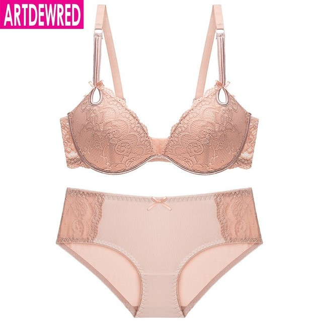 51007dd9f3f High quality Deep V Sexy Plus size Push up Bra set Floral Embroidery Lace  Women Underwear set Bra and Panties