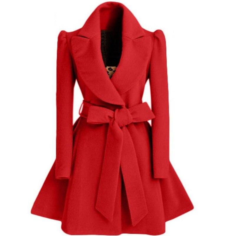 Korean Women's Woolen Windbreaker Overcoat Jacket Coats Red XL Autumn And Winter Long Windbreaker Overcoat Fashion Coat Jacket