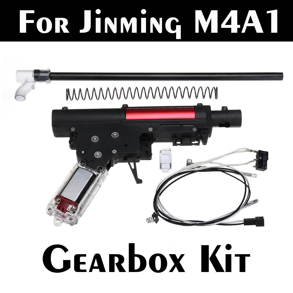 Coque de récepteur fendue en Nylon noir + Kit de boîte de vitesses pour Jinming M4A1 jeu blaster de balle de Gel d'eau accessoires de remplacement de pistolets à jouets