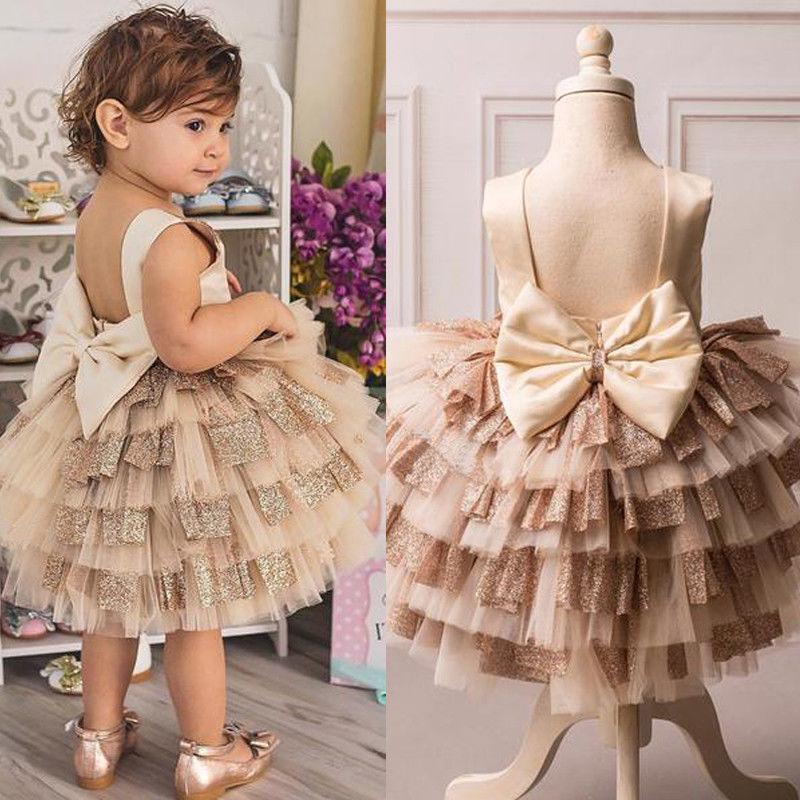 Girls Kids Lace Crew Neck Dress Bow Skirt Baby Princess Bridesmaid Wedding Party
