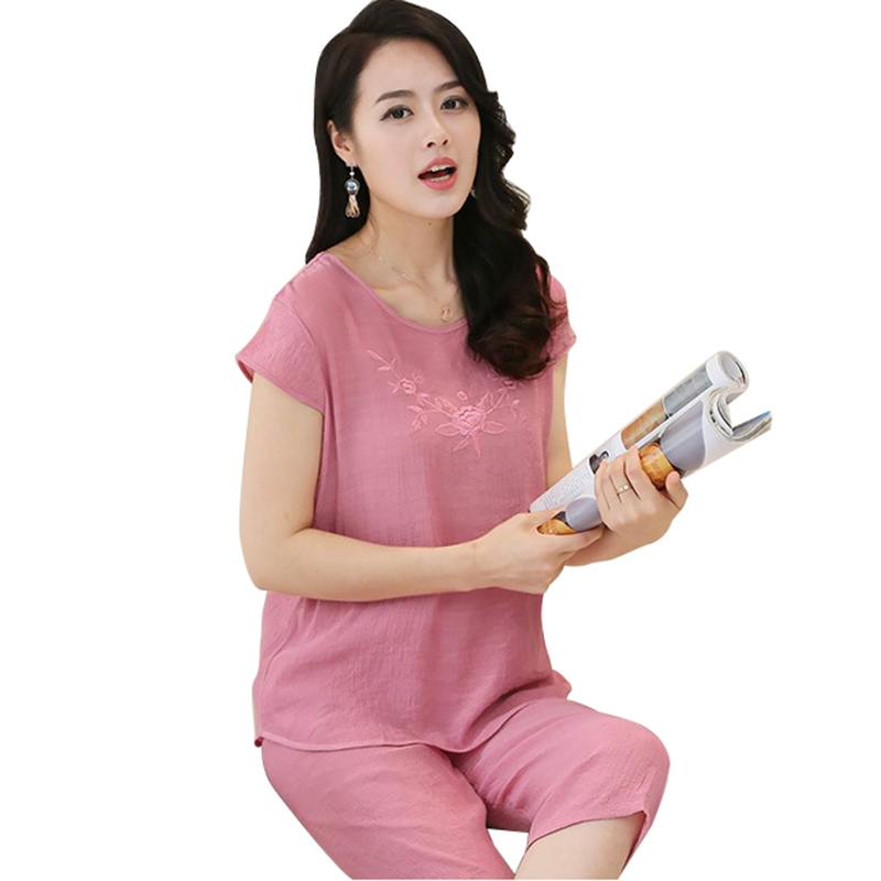 Ladies Pajamas Sets Cotton Linen Femme Casual Fashion Floral Print Women Pajamas Suits