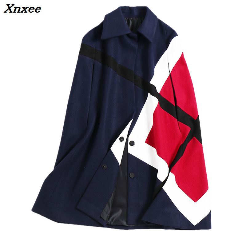 Chauve Mélanges De Manches Manteau Vêtements Mode Xnxee marine souris D'hiver Bleu Laine Cape Ponchos Longues Noir Femmes Manteaux Veste t7qIF