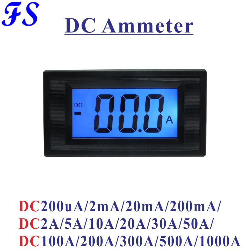 Earnest Yb5135d Dc Current Meter Lcd Digital Ammeter Dc 200ua 200ma 20a 50a 100a 200a 300a 500a 1000a Dc Ampere Meter Amp Panel Tester Harmonious Colors Measurement & Analysis Instruments
