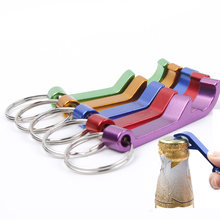 1 PCS Bottle Opener Key Ring Chain Keyring Keychain Metal Beer Bar Tool Aluminum Colorful Finger Ring Kitchen Bar Accessories(China)