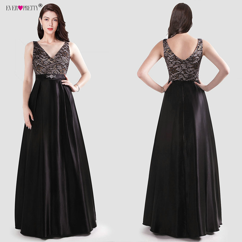 Black   Evening     Dresses   Long 2019 Ever Pretty New Elegant V-neck Satin A-line Lace Appliques Sleeveless Wedding Guest Gowns