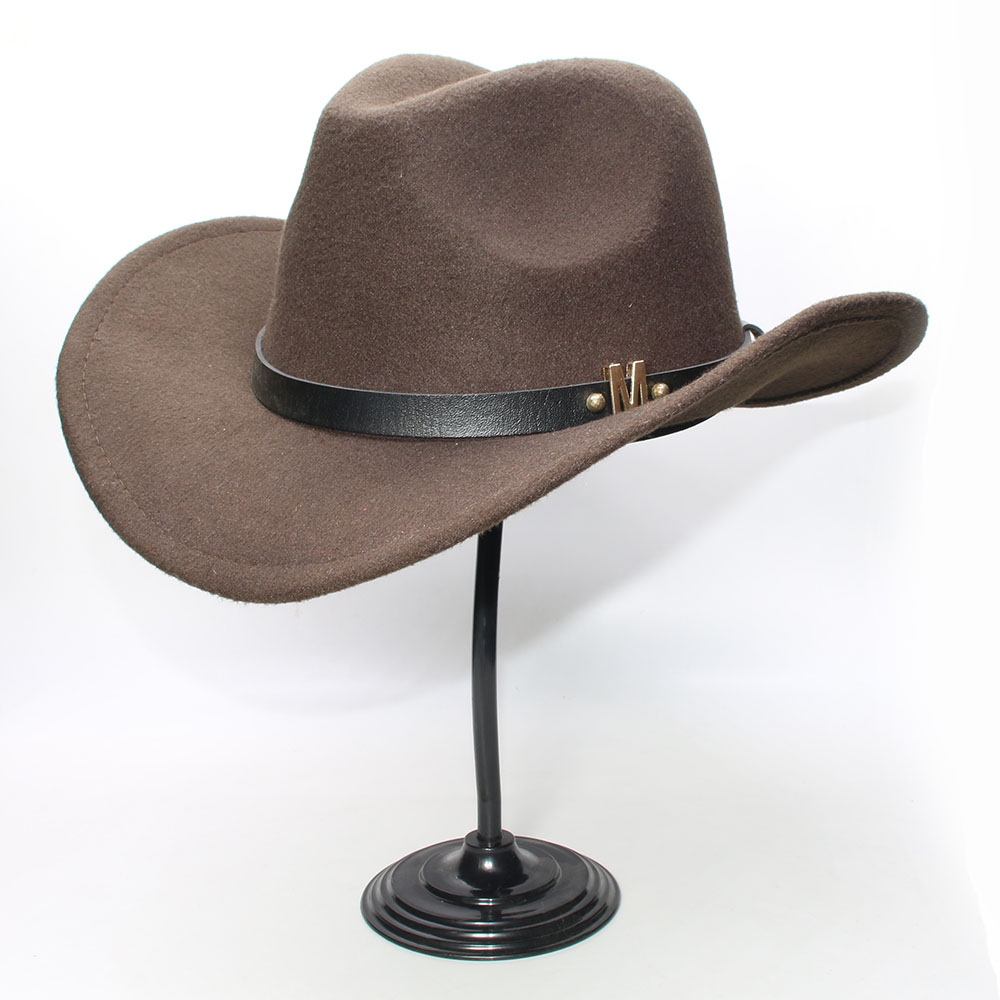 14360395558 LUCKYLIANJI Vintage Women Men Wool Wide Brim Cowboy Western Cowgirl Bowler  Hat Fedora Cap M Letter Leather Band (57cm Adjust)-in Cowboy Hats from  Apparel ...
