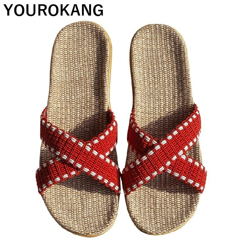 Summer Linen Home Slippers Indoor Couple Lovers Flax Slippers Unisex Flip Flops Women Shoes Household Floor Female Footwear 2019Summer Linen Home Slippers Indoor Couple Lovers Flax Slippers Unisex Flip Flops Women Shoes Household Floor Female Footwear 2019