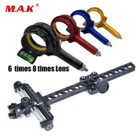 Compound Bow Competition Aiming Head with Composite Sight 6 Times 8 Time Lens Bow Frame for Archery Shooting