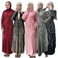 Plus Size 2019 Summer Abaya Dubai Sexy Women Long Embroidery Lace Mesh Kimono Cardigan Muslim Dress Turkish Islamic Clothing New