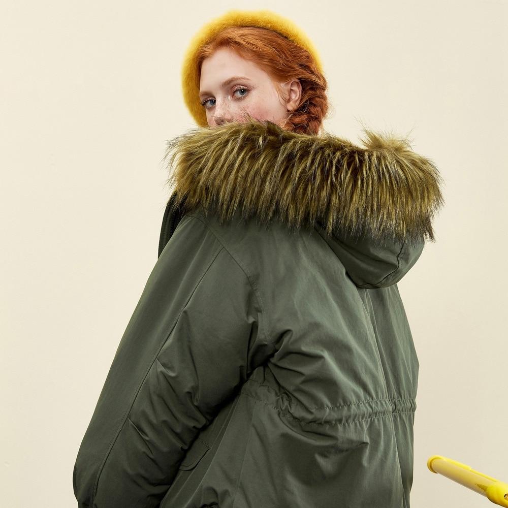 Metersbonwe Lose Boyfriend Weibliche Gezeiten Hoodie Mantel Warme Schatten Winter Schwarz Jacke Wollkragen Wind WH2IED9