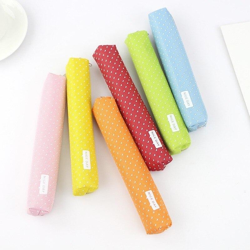 1 Pc Nette Candy Farbe Leinwand Schule Bleistift Fällen Kawaii Stoff Bleistift Tasche Box Beutel Fall Für Stifte Stationären Versorgung 04908