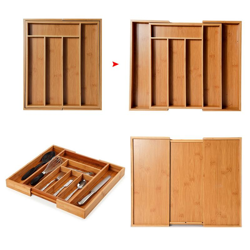 Expandable Cutlery Bamboo Drawer Organizer Tray Multi-Functional Kitchen Office Bedroom Storage Box