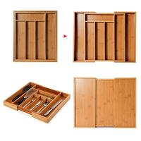 Expandable Cutlery Bamboo Drawer Organizer Cutlery Tray Multi Functional Drawer Cutlery Kitchen Office Bedroom Storage Box