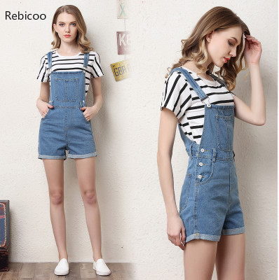Short Denim Overalls Women Jumpsuit Romper High Waist Casual Fashion Jeans Playsuit Washed Blue Dungarees  Summer Clothing
