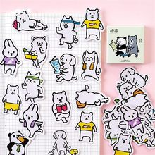 Cute Panda Puppy Cat Boxed Kawaii Animal Sports Meeting Stickers Planner Scrapbooking Stationery Japanese Diary Stickers(China)