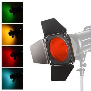 Image 5 - Godox BD 04 Scheune Tür + Honeycomb Grid + 4 Farbe Filter Rot/Blau/Grün/Gelb Für Bowen montieren Standard Reflektor Blitz Zubehör