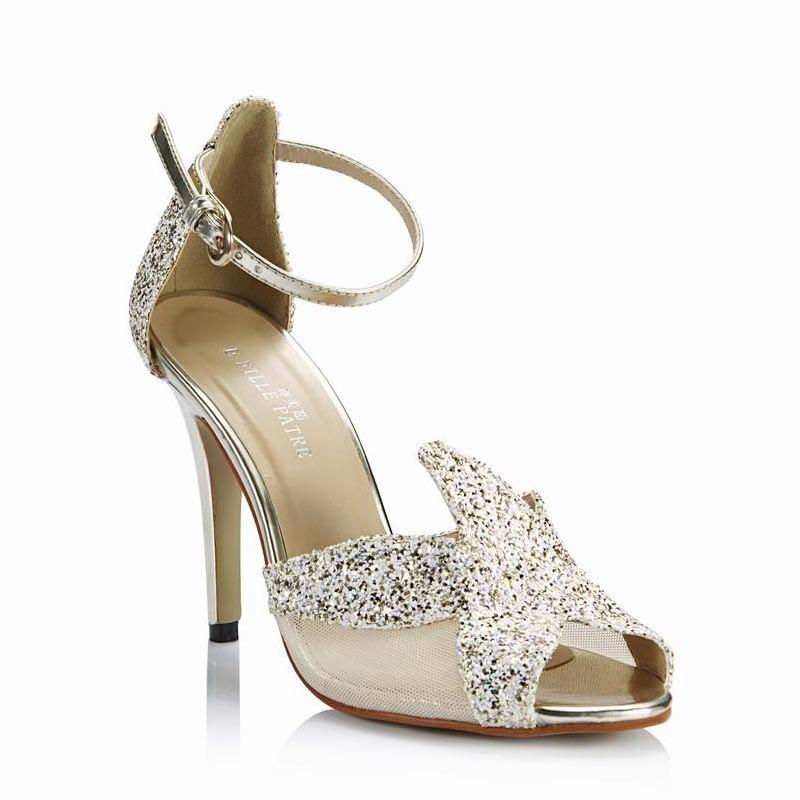 691a8594b أحذية نسائية امرأة مثير عالية الكعب مفتوحة اصبع القدم الترتر مضخات حزب  أحذية الزفاف Zapatos موهير تاكون تنيس Sapato Feminino