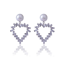 CHENFAN fashion womens earrings 2019  jewelery Copper Women Heart Pearl Jewelry with stones jewelry