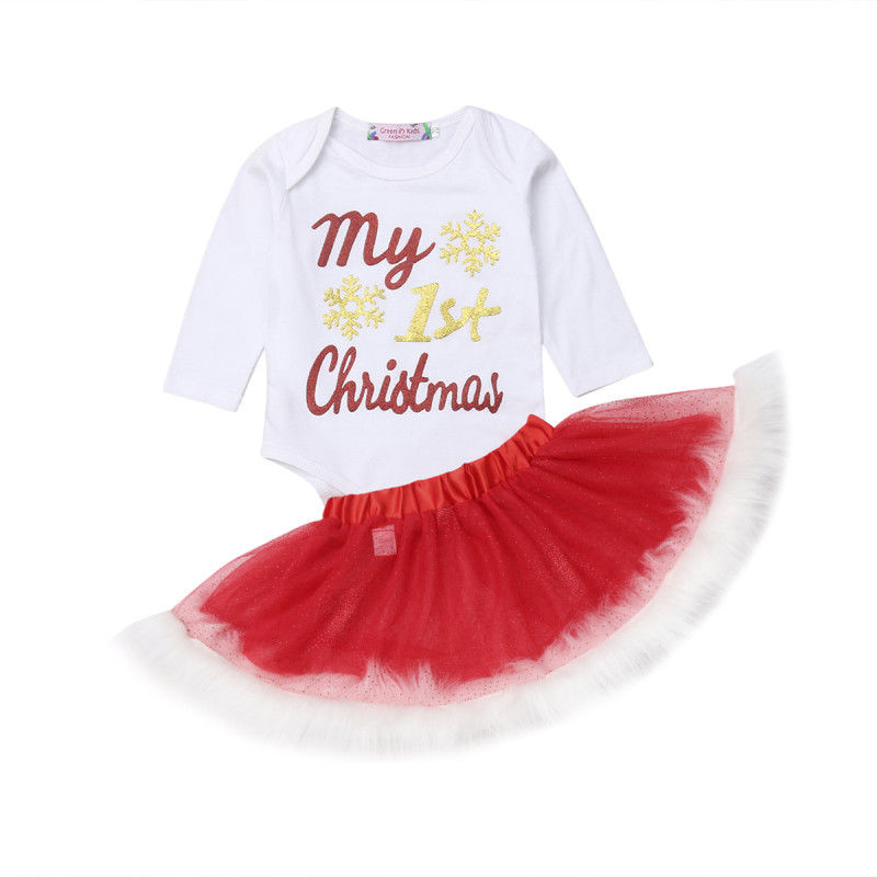 Tutu-Skirts Christmas-Outfits Romper Girls Newborn-Baby 2pcs-Sets Cotton Princess Letter
