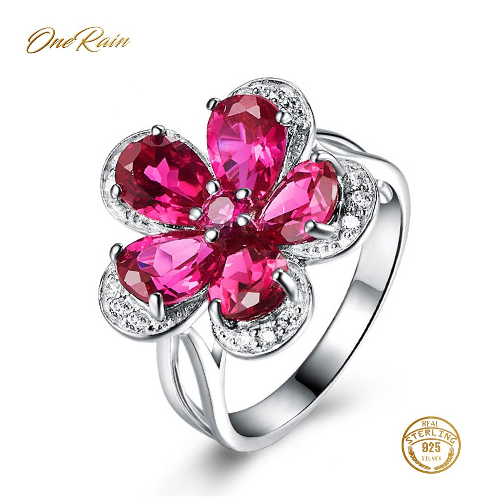 OneRain Elegant 100% 925 Sterling Silver Ruby Gemstone Birthstone Wedding Engagement Cocktaill Ring For Women Jewelry Size 6-9