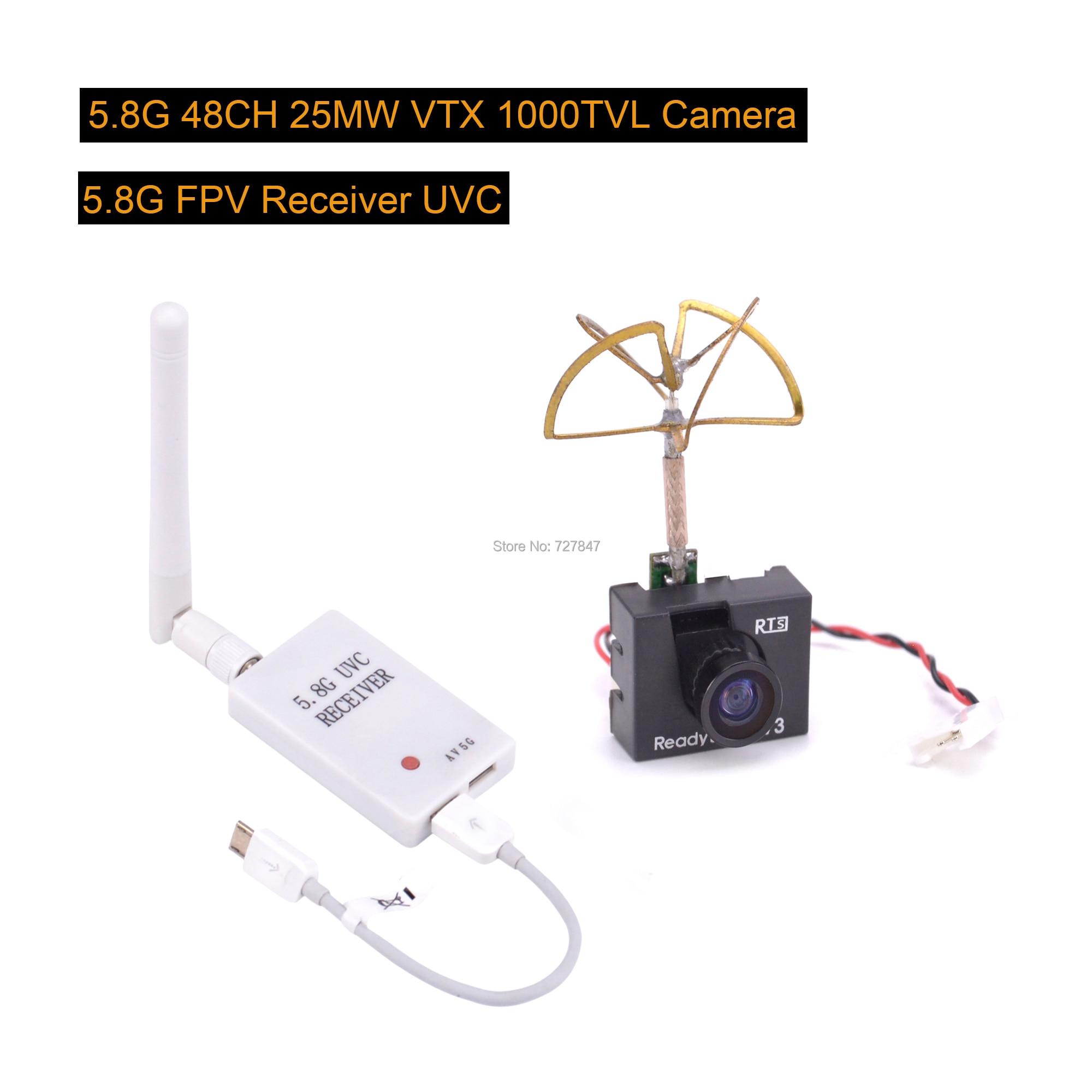 Mini 5,8G FPV Empfänger UVC Video Downlink OTG VR + Readytosky 5,8G 48CH 25 MW VTX 1000TVL FPV kamera Eingebautem Sender