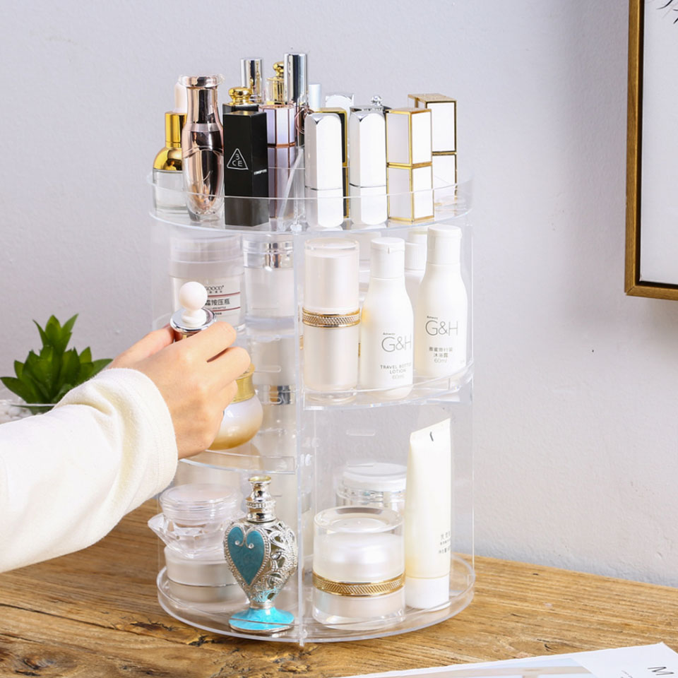 Fashion 360 Degree Rotating Makeup Organizer For Cosmetics Storage Box Plastic Clear Acrylic Transparent Box Jewelry Necklace in Storage Boxes Bins from Home Garden