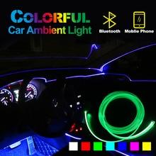 цена на Ambient Light Car Atmosphere Light Lamp APP Control 8 colors DIY Soft Refit Optic Fiber Band For Car Interior Decorative Light