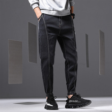 Harlan jeans male 2019 spring and summer new Fashion mens tooling casual loose shrinking denim long streetwear Hot Sale Black