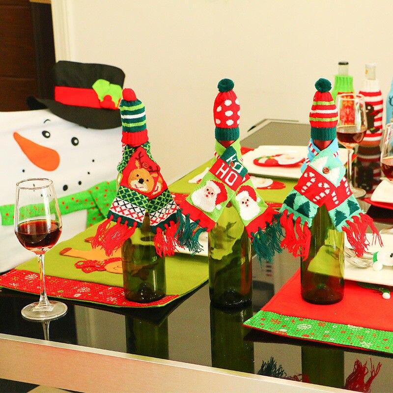Actief Kerst Wijnfles Cover Huishoudelijke Tafel Party Decor Wrap Top Hoed Sjaal Set Wijnfles Cover